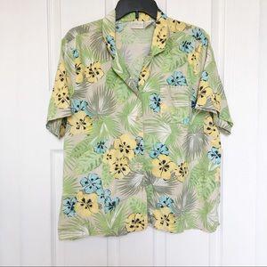 Erika Hawaiian Shirt-Yellow/Blue/Tan-Size XL